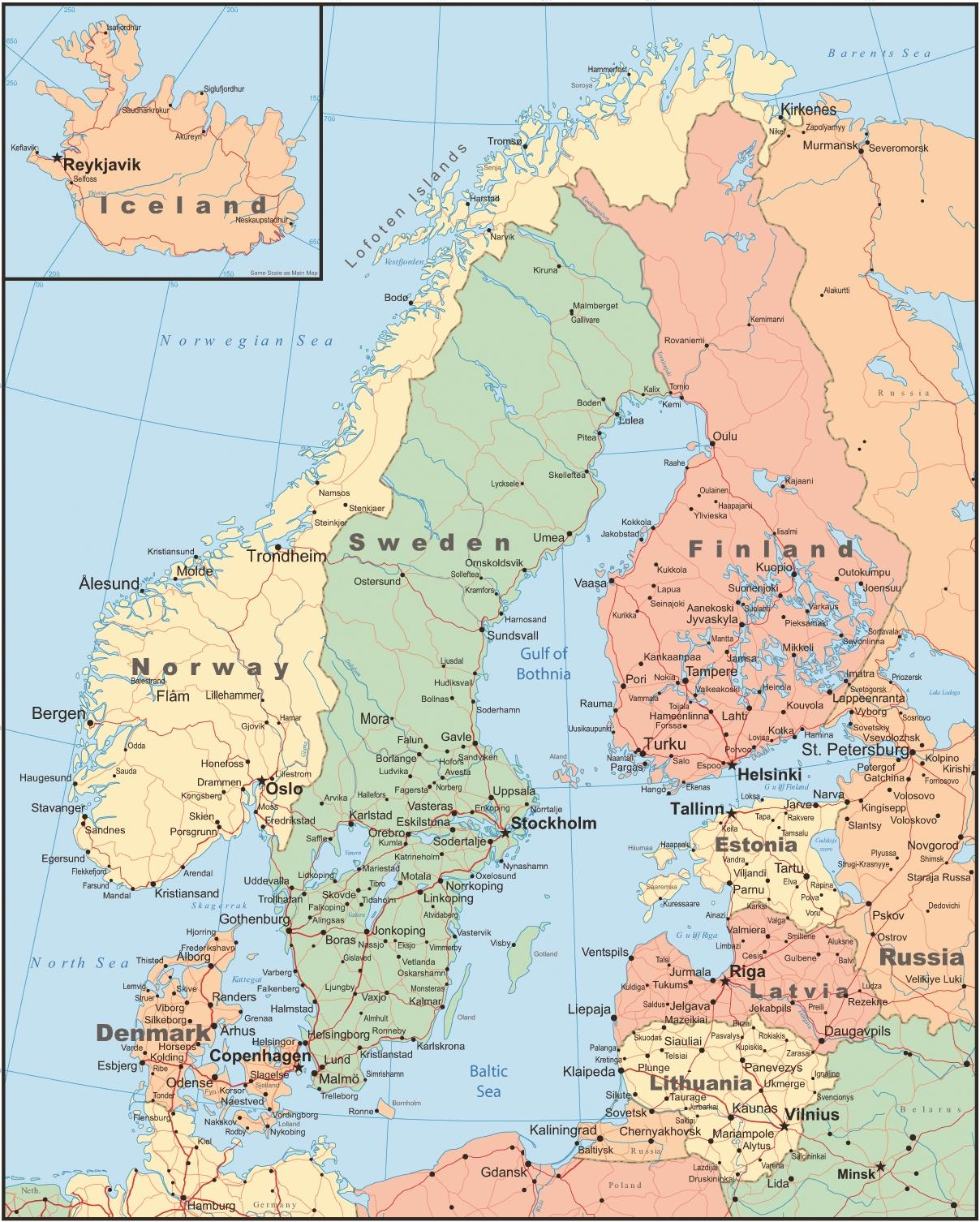 Danemarca țară Hartă Harta Danemarca și In țările Din Jur