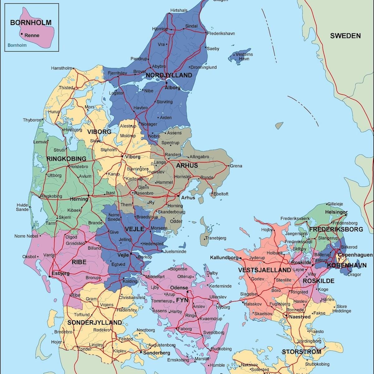 Danemarca Politice Hartă Harta Danemarca Politice Europa De