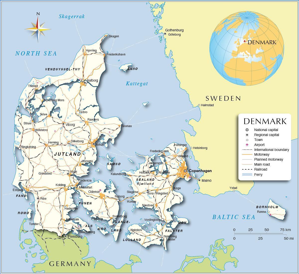 Danemarca Hartă Harta Danemarca Europa De Nord Europa