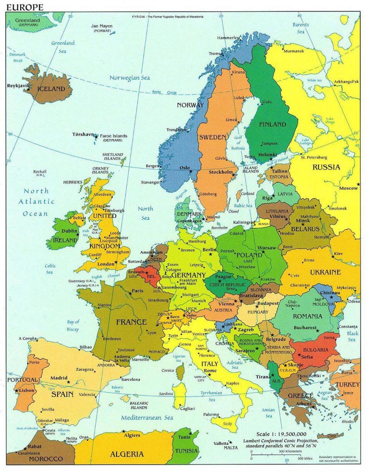Danemarca Harta Europei Harta Europei Arată Danemarca Europa De