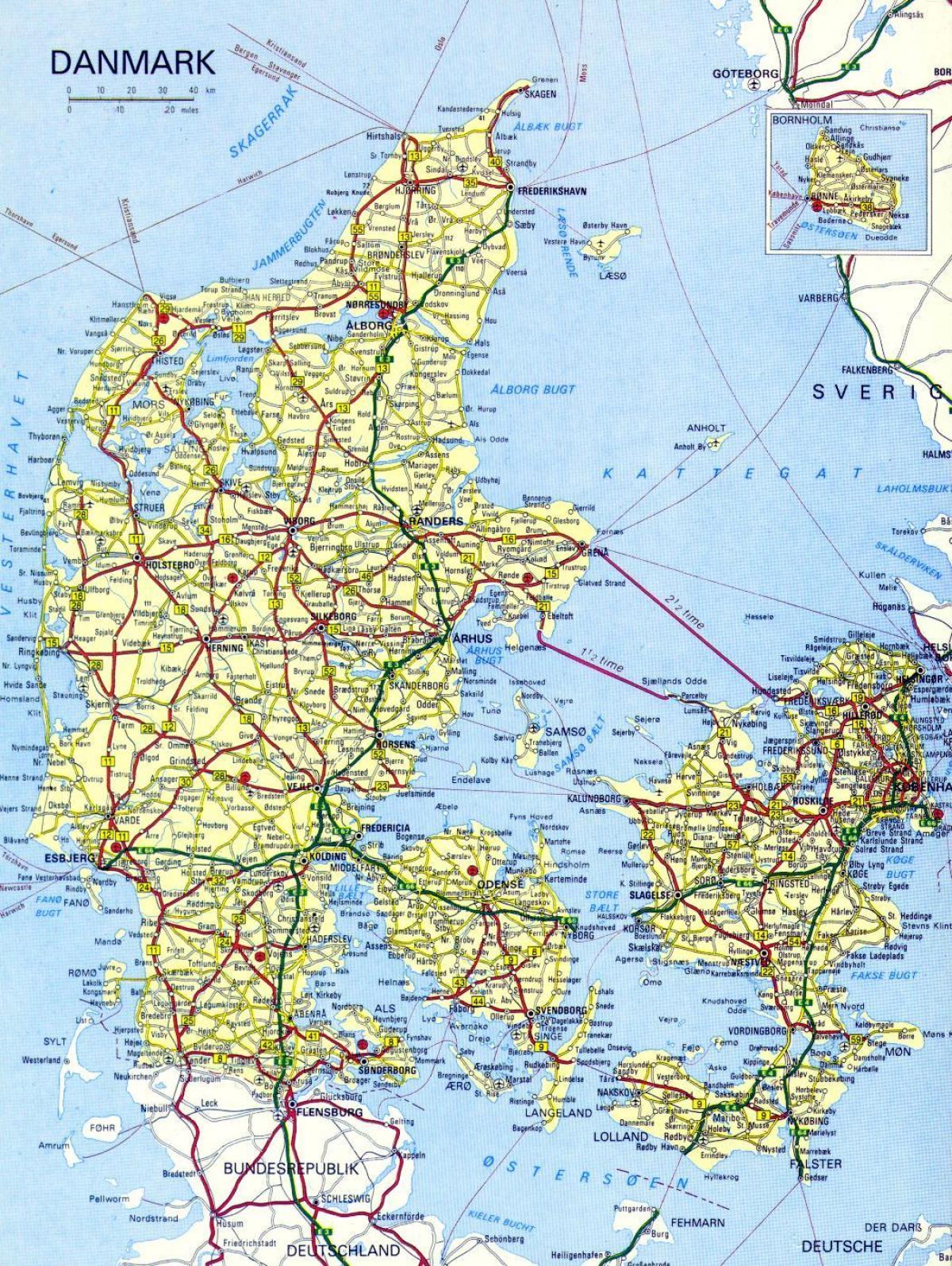 Harta Rutieră Dintre Danemarca Harta De Drum Danemarca Europa